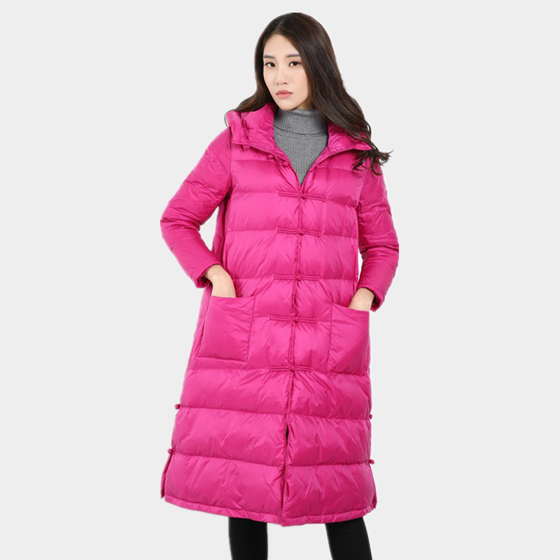 2017 Autumn Winter Vintage Women 90% White Duck Down Coat Winter Female Snow Warm Jacket Long Thick Duck Down Coat Parka YP0599 s xl thick warm long women winter coat 2016 fashion down coat with hoodies long sleeve white parka solid color
