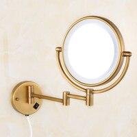 Bath Mirrors Brass Antique 8 Round Wall Mirrors of Bathroom Light LED Mirror Folding Cosmetic Vintage Mirror 2068F