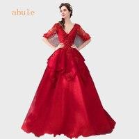Wine red long Evening Dresses lace backless v neck appliques beads flowers Saudi Arabia women Prom Dresses Robe De Soiree