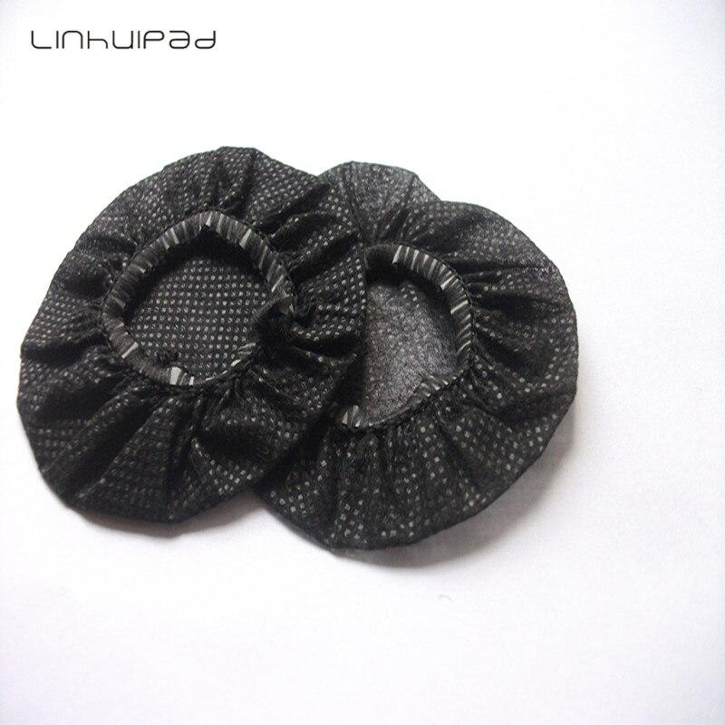 bilder für Linhuipad 12-13 cm Schwarz Vlies Einweg Sanitär Kopfhörer Abdeckung 20 teile/los Kostenloser versand
