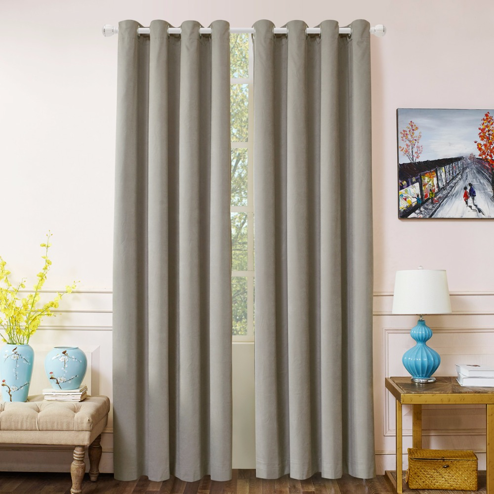 Curtain For Double Window Us 19 31 39 Off Gigizaza Blackout Curtains Double Layer For Bedroom Gray Velvet The Net Curtains For The Living Room With Lining In Curtains From