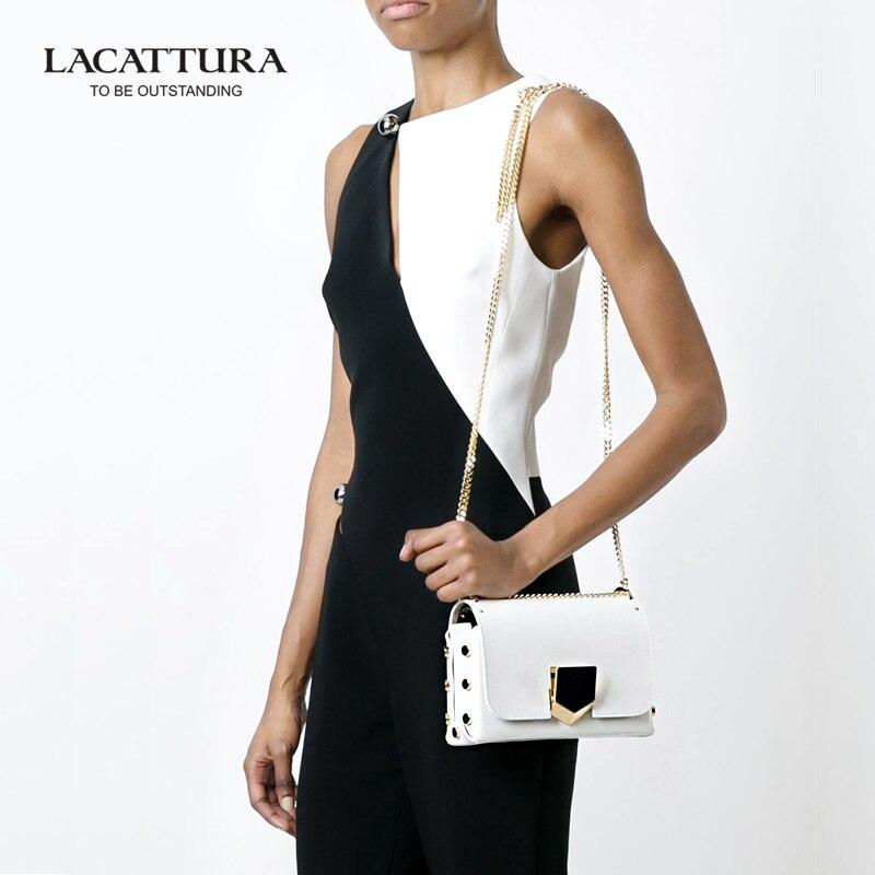 ФОТО A1332 2017 cow leather belt Shoulder LACATTURA Brands bags crossbody women pyramid hasp bags handbags famous brands makeup bag