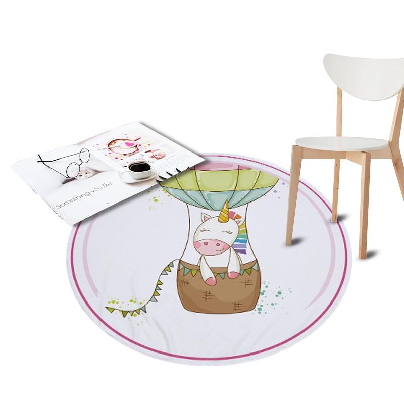 150cm Unicorn Printed Waterproof Round Rugs Living Room Doormat Cartoon  Carpets Door Floor Mats For Bedroom Carpet Kids Room
