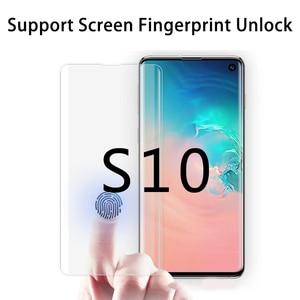 3D УФ-защита для экрана Nano для Galaxy S10 Plus, закаленное стекло с полным клеем для Galaxy S10, разблокировка по отпечатку пальца