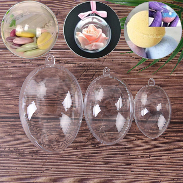 3Sizes Eggs Shape Crafting Home Hotel Decor For Christmas Gift Bath Care Tool DIY Bath Bomb Mold Plastic Clear Mould Reusable 1