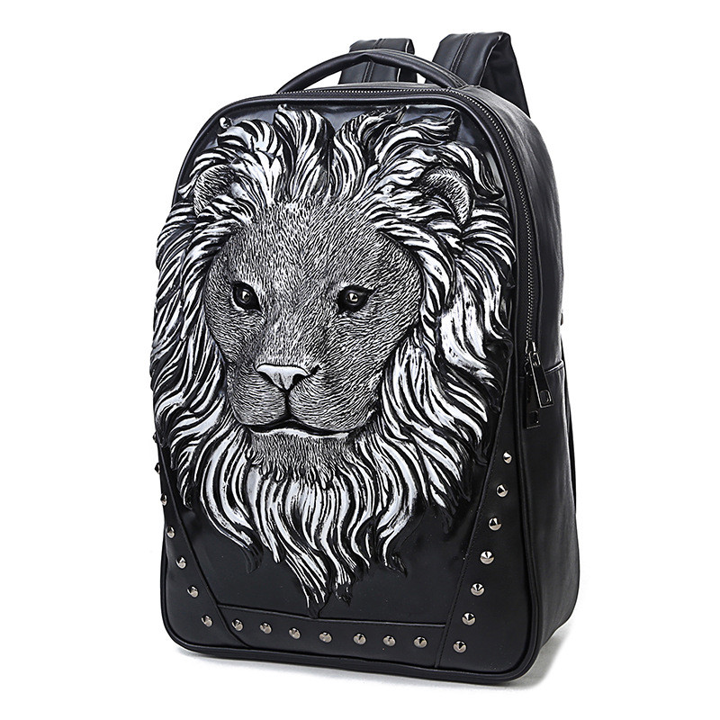 ФОТО 3D Lion Head Backpack PU Leather Halloween Necessary,ROCK! we are committed to our quality is best