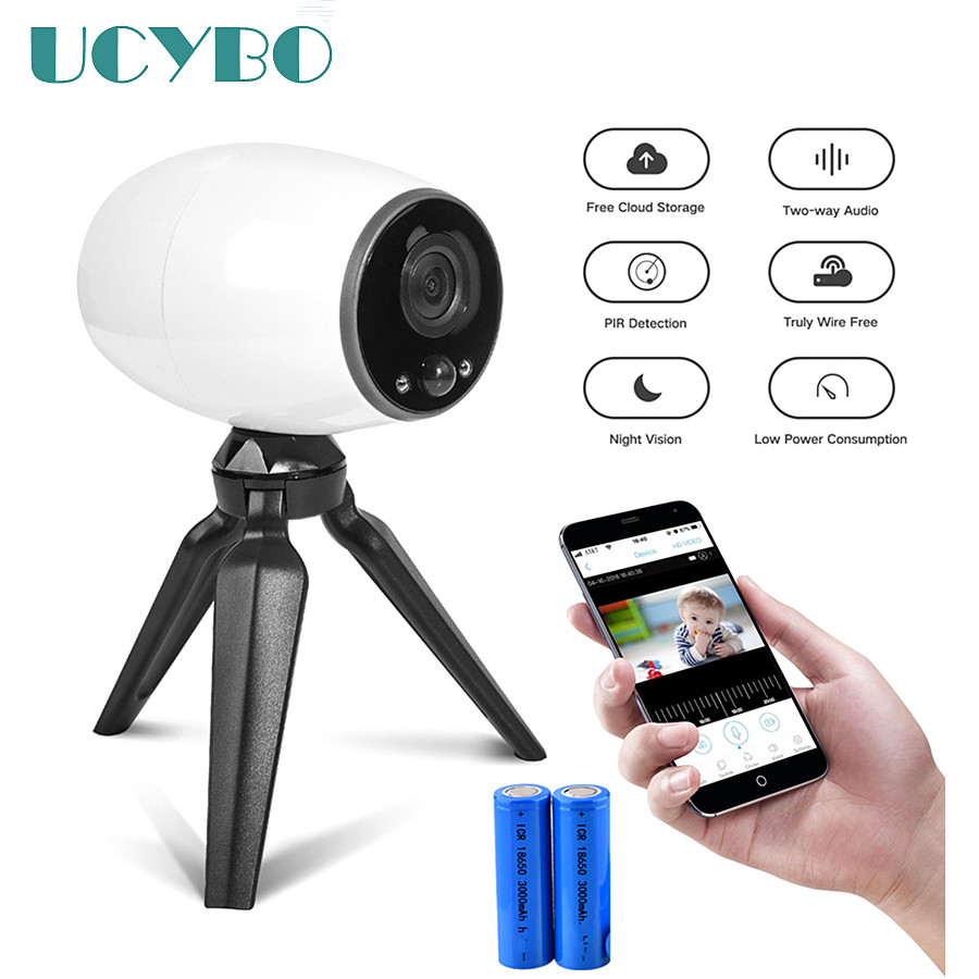UCYBO Wifi ipカメラ充電式バッテリー駆動ミニ720P HD屋外セキュリティワイヤレスカム166モニター付きワイドアングルビデオ監視ドアワイヤレス