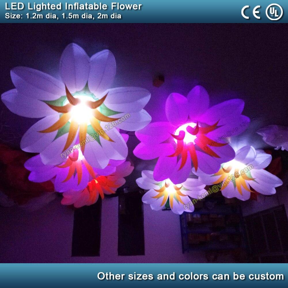 Ballon gonflable de fleur d'éclairage de LED bar club partie décoration boule gonflable de lys avec le mariage gonflable d'étape de plante de LED