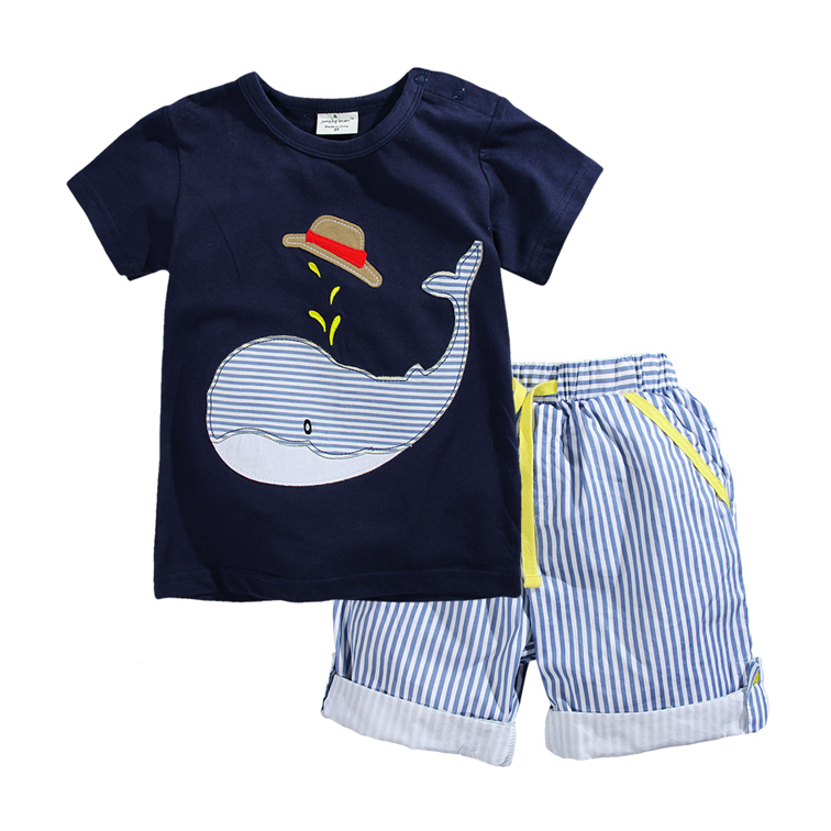 Brand Summer Boys Clothing Set 100% Cotton Cartoon T-shirts And Shorts Children Clothes Sets 2-7 Years Kids Baby Boys Sport Suit