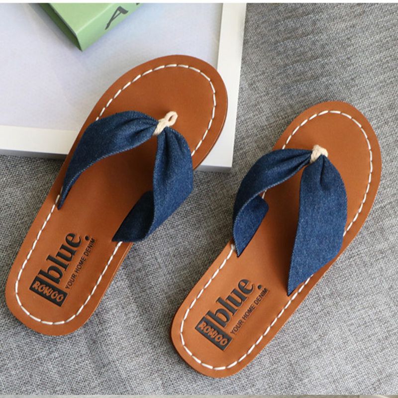 eeb628a3a Denim Blue Summer Flip Flops Women Fashion Rubber Embossed Arch Support  Ladies Slippers Female Shoes Big Size Girl Flip Flops-in Flip Flops from  Shoes on ...