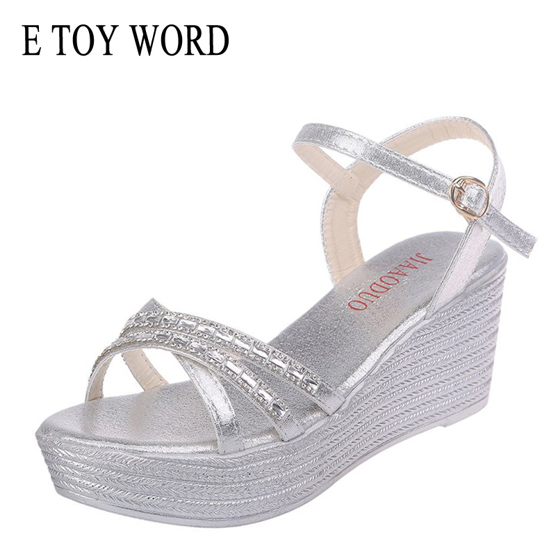 Platform Sandals Summer Shoes Rhinestones WORD Gold Wedge Open-Toe High-Heels Silver