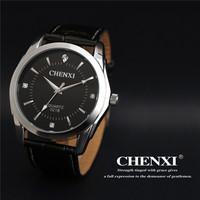 CHENXI Black Crystal Rhinestone Genuine Leather Japan Movt Dress Quartz Wristwatches Wrist Watch For Men Women