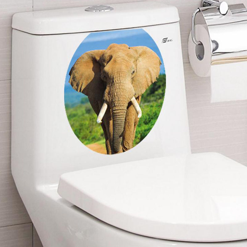 Creative 1PC 3D Toilet Seat Removable Sticker-Free Shipping 3D Wall Stickers Bathroom Stickers