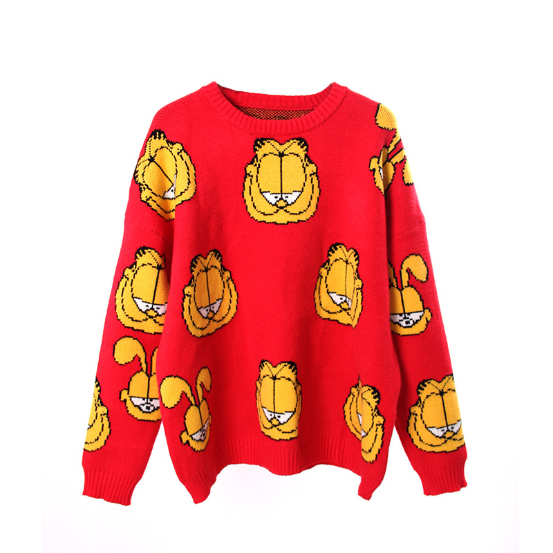 Garfield Korean Version Of The Head Loose Comfortable Solid Color Thick Warm Shirt 2019 Autumn And Winter Knitted Shirt Women