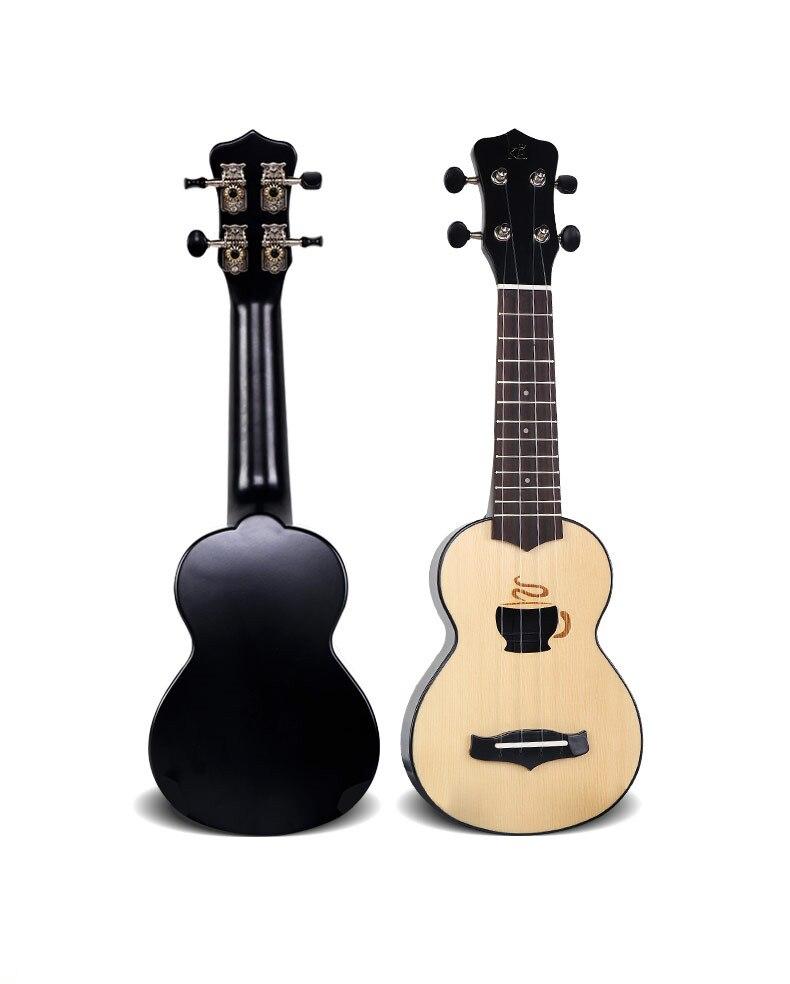 17 pouces 4 cordes en bois d'épicéa ukulélé Hawaii guitare forme de trou mignon avec sac en cuir