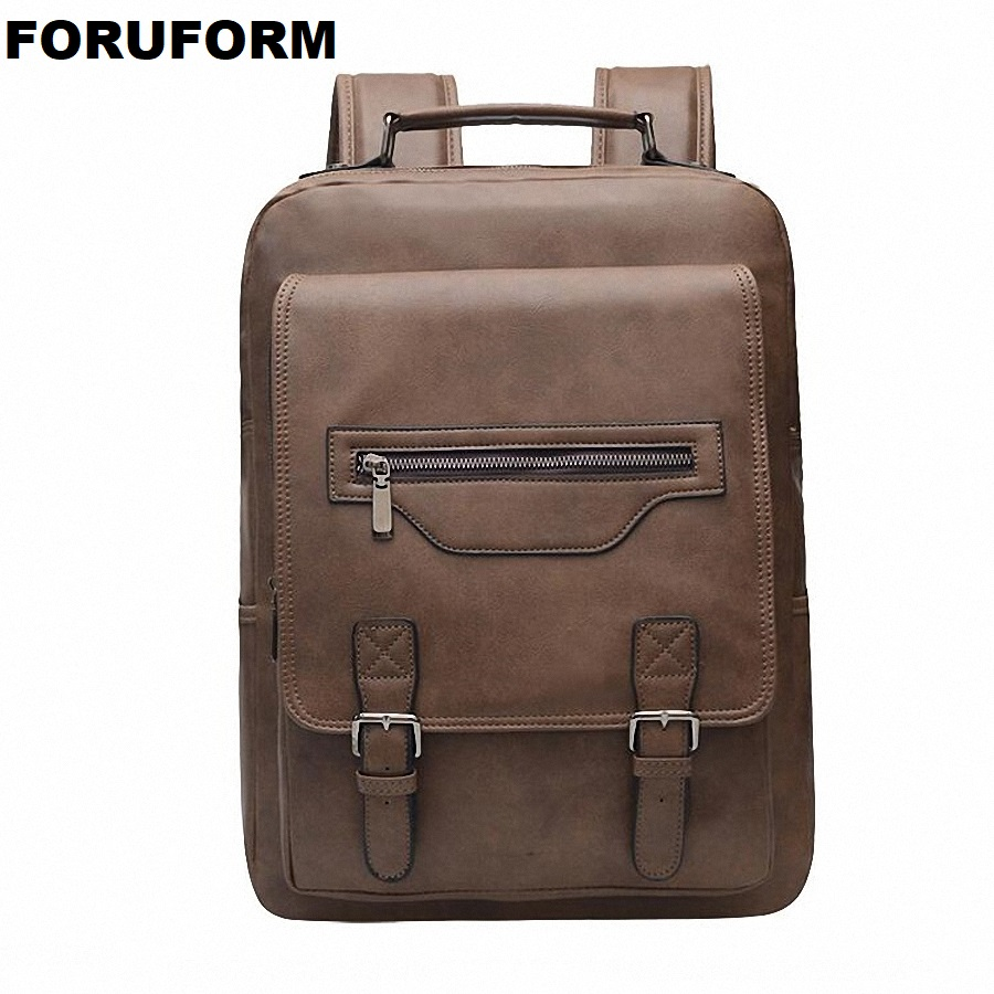 Learned Men Pu Leather Backpack Black Brown Travel Bags Classic Male Laptop Backbag For Girls Boy School Bag 2019 New Li-2499 Men's Bags