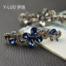 Women headwear 2017 vintage girls rhinestone hair barrette small flower clip metal accessories for women