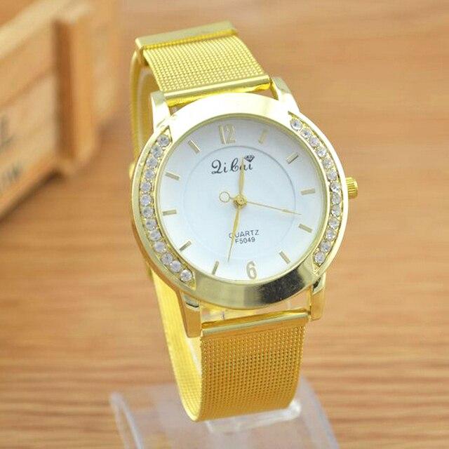 Luxury Steel Mesh Crystal Stone Watches Women Dress Watch Quartz Wristwatches Cl