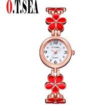 Sizzling O.T.SEA Model 4-leaf clover Rose Gold Watches Girls Girls Gown Quartz Wristwatches Relogios Feminino OTS029