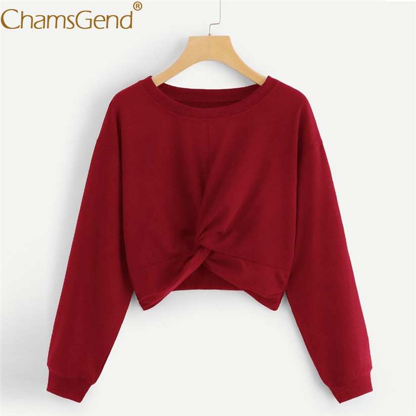 Neu Design Frauen Rundhals Verdrehte Cropped Shirts Frau Langarm Solide Tops Frau Sweatshirts 81217 GroßEs Sortiment Pullover Sweatshirts