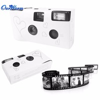 36 Photos Wedding Bridal Camera Single Use Disposable Silver Funny Heart With Flash And Table Card