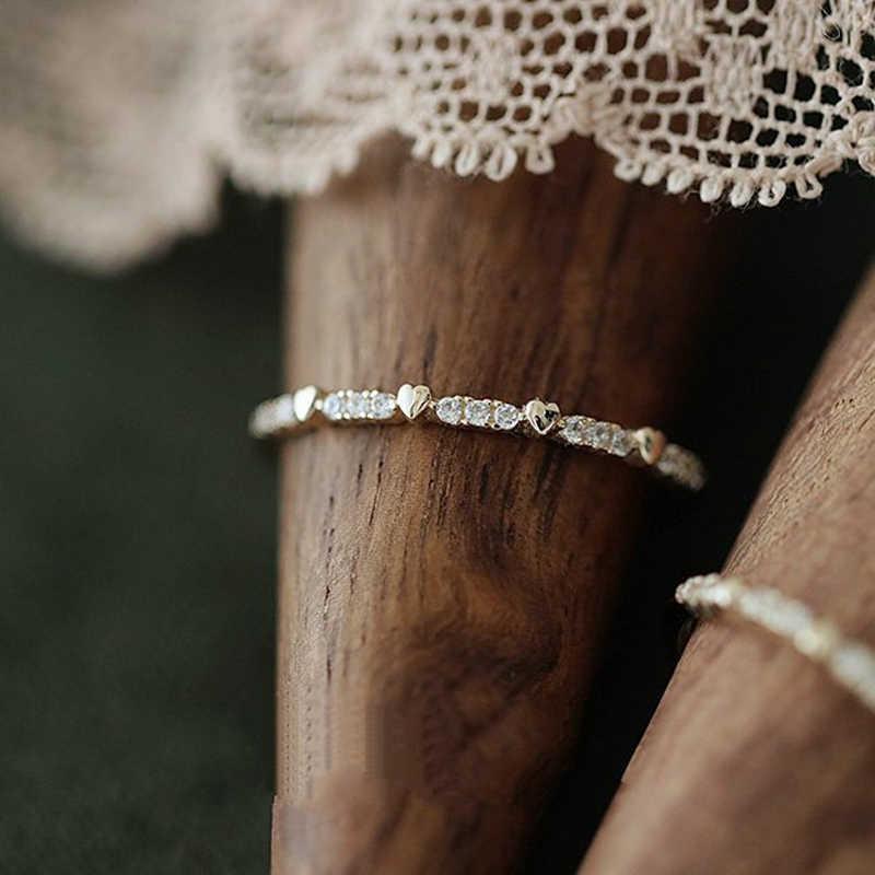مزدوجة عادلة حساسة رقيقة الحب لطيف خواتم للنساء ضوء الذهب الأصفر اللون تشيكوسلوفاكيا ميدي الدائري خاتم هدايا مجوهرات أنيقة للفتيات KAR120