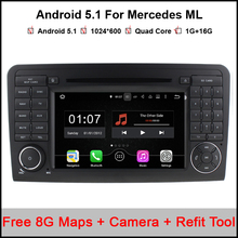 1024*600 Android 5.1 Car DVD Radio Player GPS for Mercedes ML W164 W300 ML350 ML450 ML500 GL X164 G320 GL350 GL450 GL500