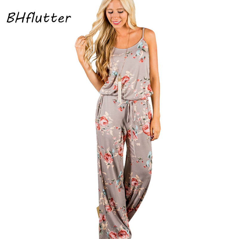BHflutter 2018 New Summer Jumpsuits Women Strapless Floral Print Casual Rompers Womens Jumpsuit Boho Style Female Beach Overalls