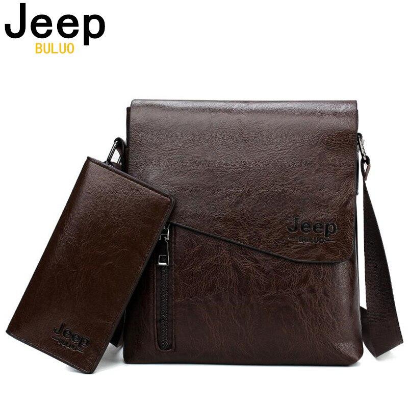 JEEP BULUO marca bolsos de hombro para hombre mensajero bolsas de moda conjunto cierre cremallera abierta bolso de cuero 15028068
