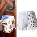 Street Style Shorts Women Black White Sexy Rivet Denim Shorts High Waist Hole Short Feminino Plus Size Summer Hotpants C2957