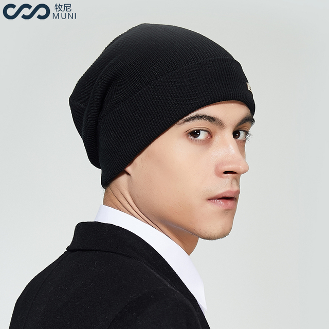 MUNI Men Winter Hat New Cotton 2018 Thick & Warm Beanie Brand Casual Men Knitted Soft Skullies Cable gorros hombre invierno