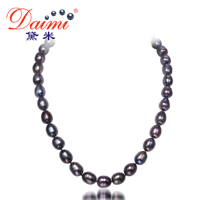 Daimi 10-11 мм большой черный рис жемчужное ожерелье натуральный жемчуг колье ожерелье классический ювелирные изделия перлы