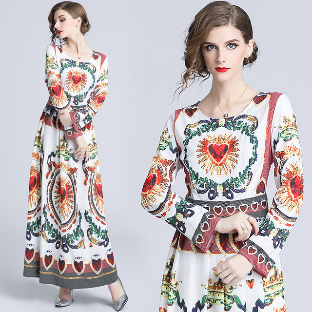 Runway Dress Designer Fashion Women s Elegant Autumn Christmas Retro Jurken Heart Shape Print Flower Long Sleeve Maxi Dress