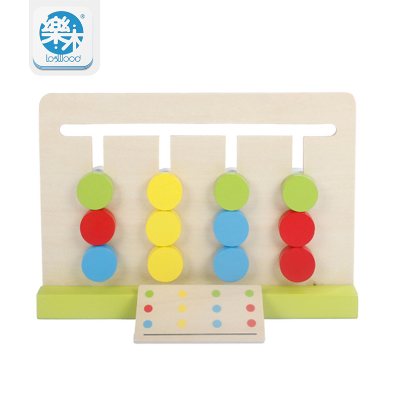 Montessori koulutus puiset lelut Neljän värin peli Väri Yhteensopiva varhaiskasvatuksen lasten oppimisen lelujen rakentamiseen