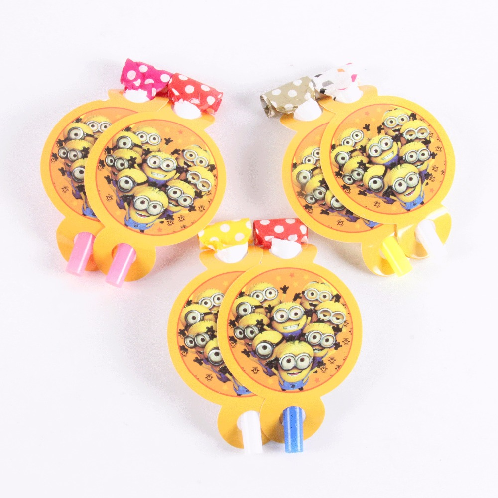 6 pcs/lot Minions Party Supplies Funny Whistles Childrens Birthday Party Blowout Baby Birthday Supplies Minions Party Gifts