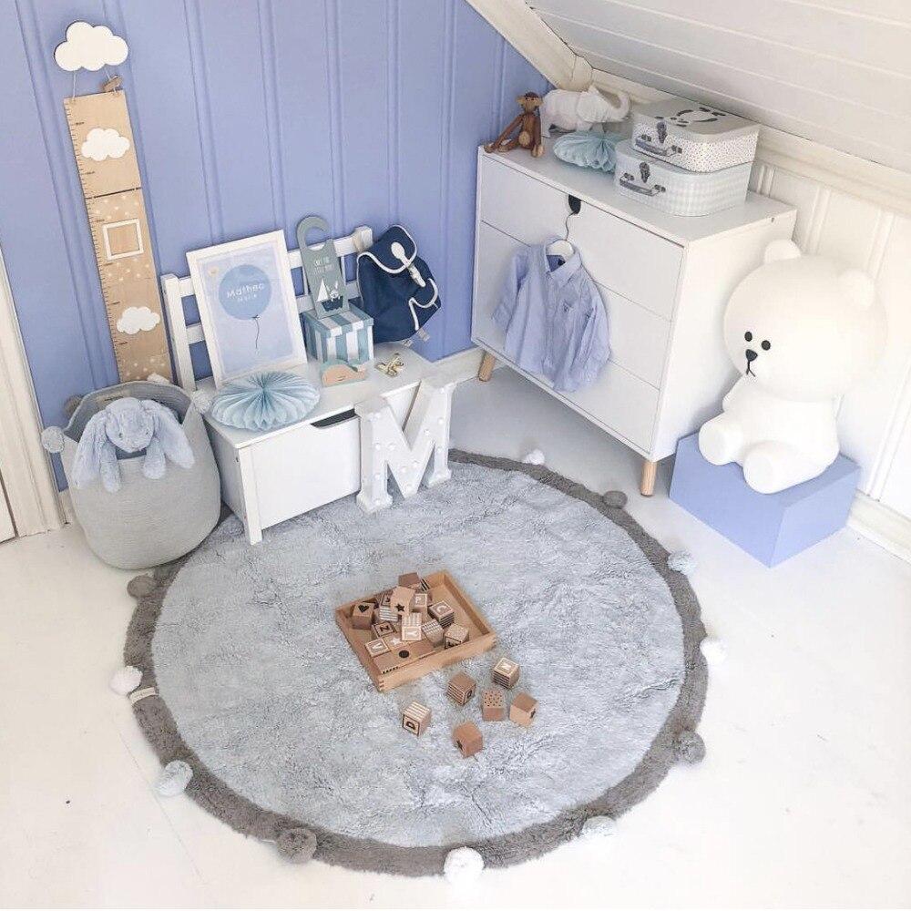 Tapis bébé nordique tapis de sol nouveau-né coton bébé enfants tapis épais tapis de jeu rond jeux d'activité tapis jouets pour enfants 120 cm