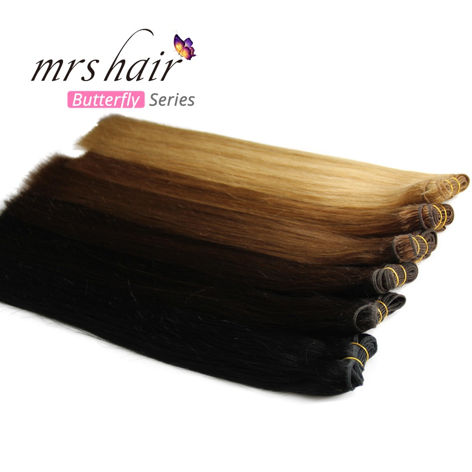 Human Hair Weaves Straight 100g Machine Made Remy Hair Bundle Blonde Black Real Natural Hair Extensions 12