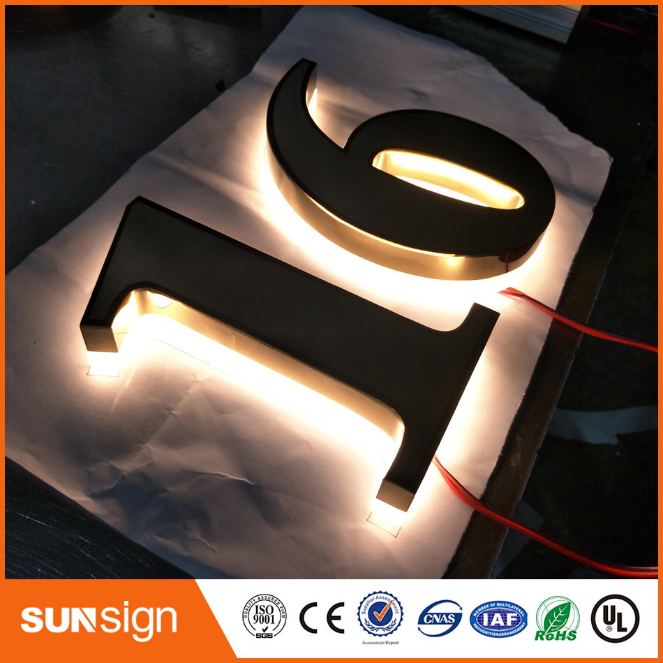 High Bright Waterproof 304# Stainless Steel Led 3D Backlit Sign Logo