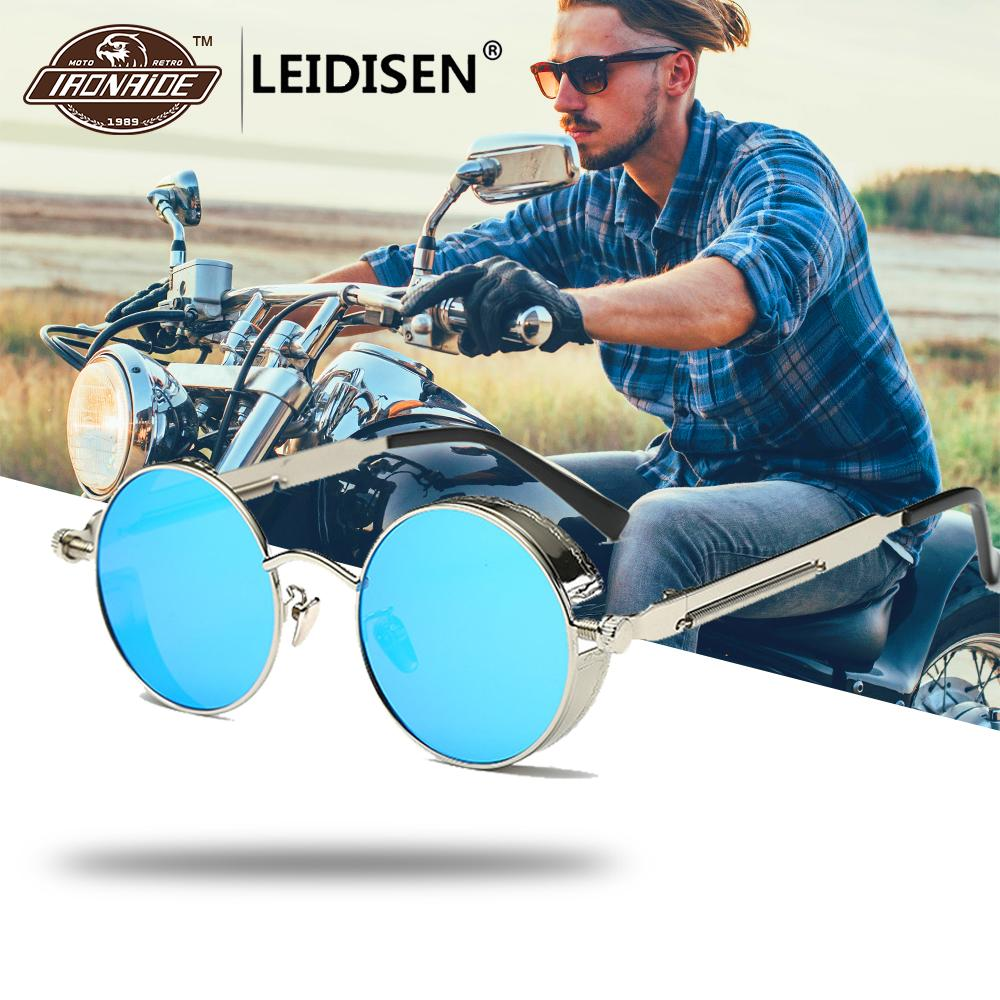 LEIDISEN Polarized Motorcycle Glasses Steampunk Retro Sunglasses Vintage Round Moto Goggles Aviator Biker Riding Driving Eyewear feidu мода steampunk goggles sunglasses women men brand designer ретро side visor sun round glasses women gafas oculos de sol
