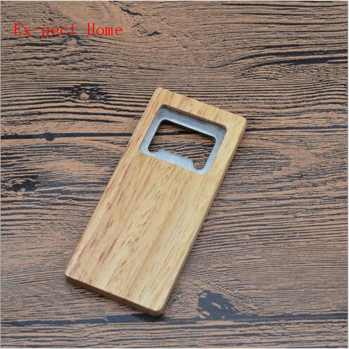500pcs/lot High Quality Beer Bottle Opener Wooden Handle Stainless Steel Square Openers Eco Friendly Anti Scald Lightweight