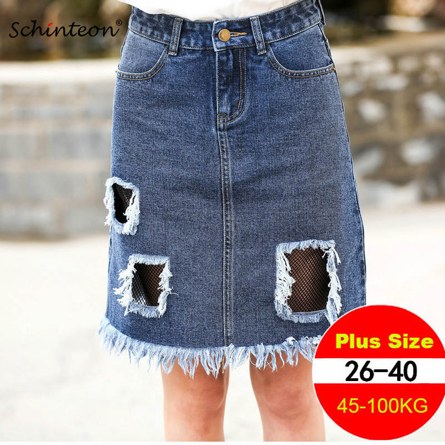 eb0b15deb87d6 Plus Size 2018 Summer Women Denim Skirt Ripped Holes Fishnet Patchwork  Middle Skirts Split Low Price XS-8XL