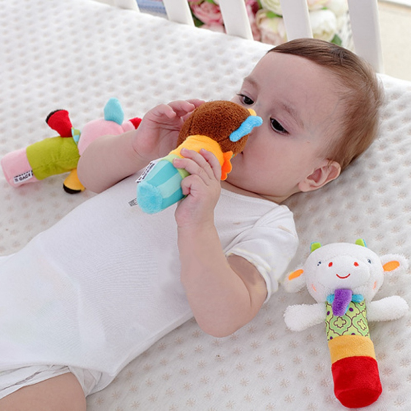 Educational Doll Christmas Gift Baby Rattles Mobiles Rattle Ring Bell Toys Plush Animal Hand Bells Toy Newborn Infant Early