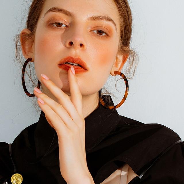 RscvonM 4cm Vintage Female Fashion Simple C Shaped Resin Leopard Print Earring For Women All Match Trendy Hoop Earrings Jewelry