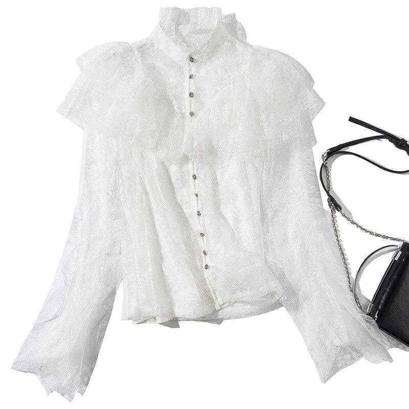Женская открытая кружевная рубашка 2019 новая сексуальная глубокий v образный вырез с рукавом, кружевная вышивка, эластичная талия, 100% хлопок,... - 4