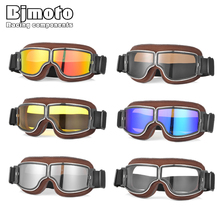 BJMOTO Universal Foldable Vintage Motorcycle Goggles Glasses Windproof Motorbike Biker Riding Helmet Glasses Moto gafas   30% moto glasses motorcycle biker riding google bicycle glass eyewear clear lens