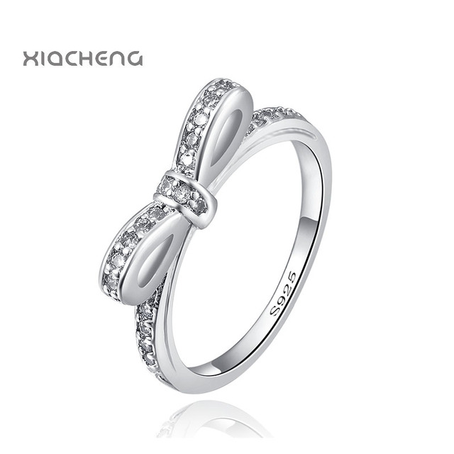 925 Sterling Silver Ring Charms With Butterfly And Full Crystal Wedding Ring For
