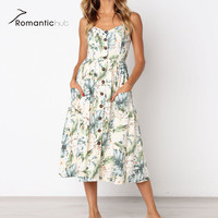 8 Color New Boho Style Spaghetti Long Dresses Button Decorated Print Dress Women Off Shoulder Party
