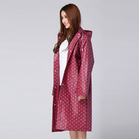 High Quality Women White Dot Solid Fashion EVA Raincoat Women Long Rainwear Windproof Poncho
