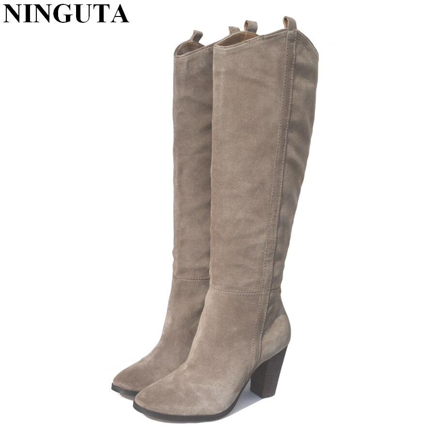 Cuir véritable daim bottes femmes talon haut pour automne genou haute bottes dames chaussures femme 36-42 - 2