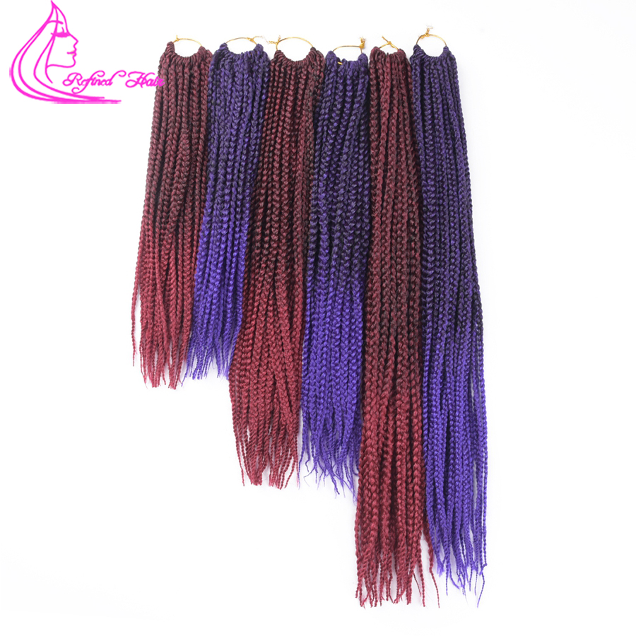 Refined Hair 14 18 22Inch Medium Box Braids Crochet Braiding Hair 22Roots Ombre kanekalon Crochet Box Braids Hairstyles